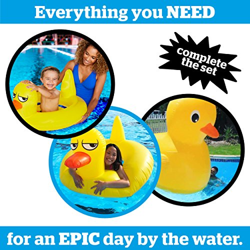 BigMouth Inc Giant Yellow Rubber Duck Pool Float, Durable Summer Pool Toy, Emergency Repair Kit Included
