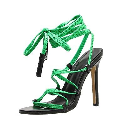 Amazon.com: Sandalias de tacón alto con correa cruzada para ...