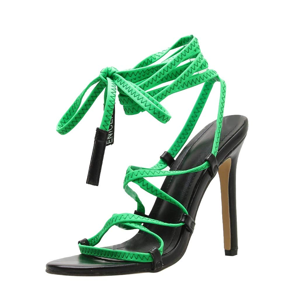 Nadition Lace Up Summer Sandals❤️️ Fashion Women Bandage High Heel Sandals Shoes Casual Shoes Thin Heels 12CM Green