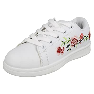 Girls Spot On Embroidered Flower Pumps H2471