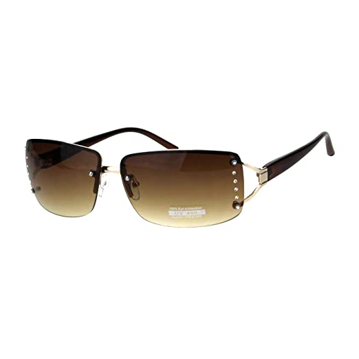 6313508637 Womens Rhinestone Rimless Narrow Rectangle Luxury Designer Sunglasses Gold  Brown