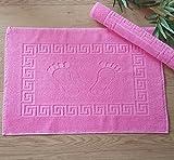 Secret Sea Collection - Set of 2, High Quality 100% Soft Cotton Super Absorbent Footprint Bath Mat Towel, Foot Towel, Bath Mat for Shower and Floor (20''x28'') (Pink)