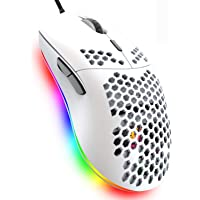 Lightweight Gaming Mouse,26 Kinds RGB Backlit Mice,PixArt 3325 12000 DPI Mouse,Ultralight Honeycomb Shell Ultraweave…