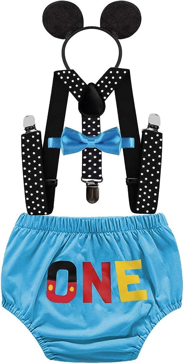 HIHCBF Baby Boys Mickey Outfits 1st Birthday Cake Smash Photo Shoot Costume Bloomers Suspenders Bow Tie Headband