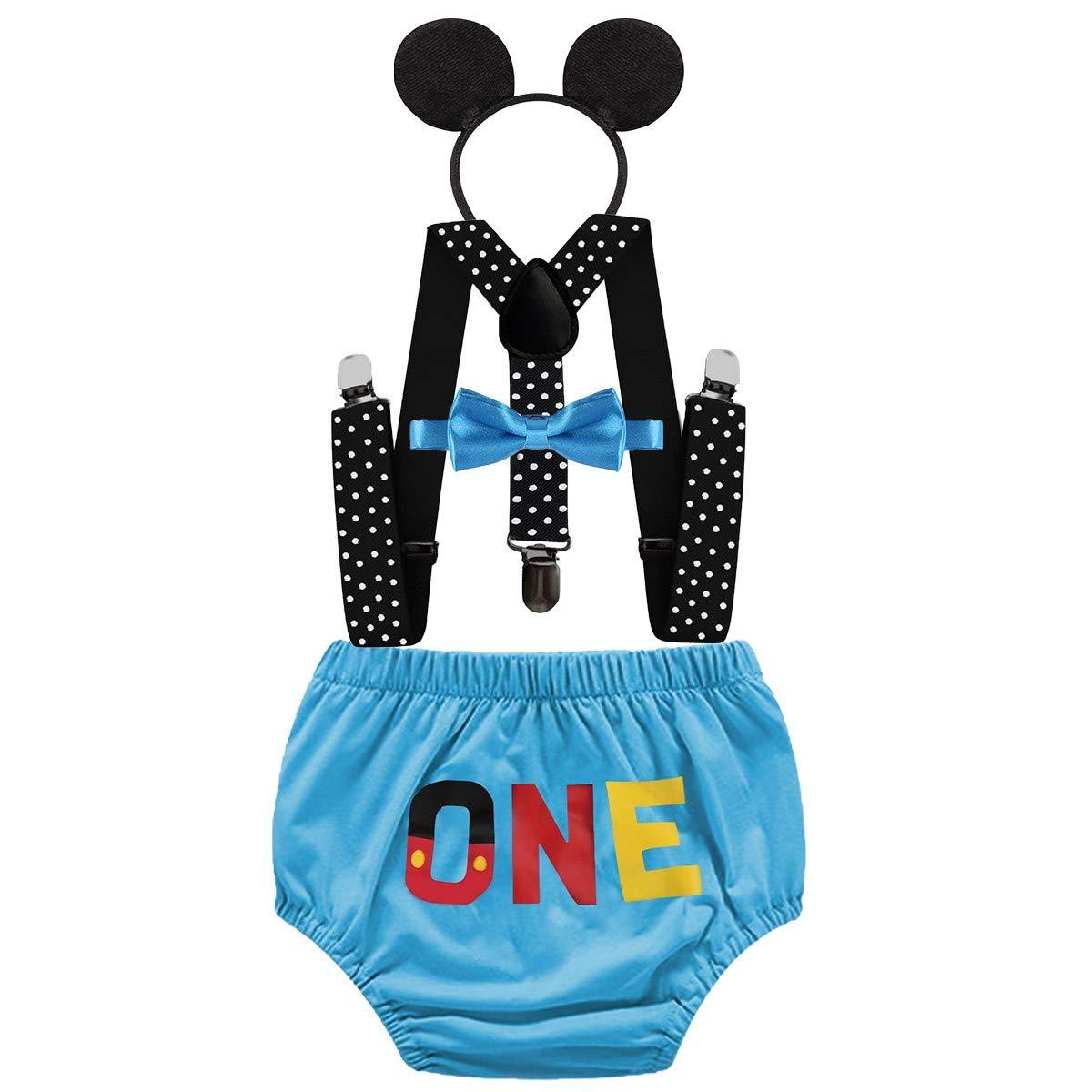 FMYFWY Neonato Bambino 1 /° Compleanno Outfits One Pantaloncini Papillon 4 Pezzi Fascia per Topolino Bretelle Costume da Topolino Carnevale Halloween Festa Fotografia