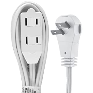 GE 6 Ft Long, 3 Power Strip, Flat Plug, 2 Prong, 16 Gauge, Safety Outlet Cover, Indoor Rated, Perfect for Office, Home or Kitchen, UL Listed, White, 50360 Extension Cord,