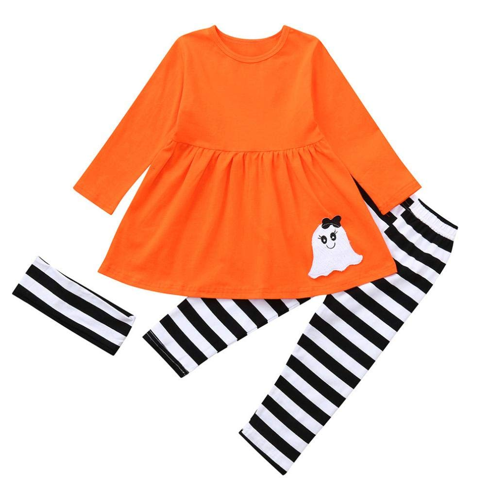 Muium for 1-5 Years Old Baby Girls Dresses Set, 3Pcs Halloween Ghost Print Striped Dresses+Pant+Hairband Costume Outfits Sets