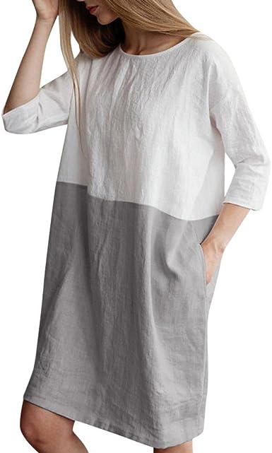 Vestidos Mujer Fiesta Vestido Verano Basico Casual Vestidos Cuello ...