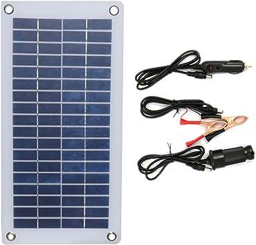 NUZAMAS Panel solar portátil de 8,5 W semiflexible con clips de cocodrilo y salida USB para batería de coche, mantenimiento de carga de teléfono al ...