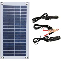 NUZAMAS 12V 8.5W Portable Solar Panel Semi-Flexible with Alligator Clips and USB Output for Car Battery Phone Charging…