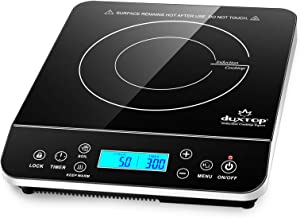 Duxtop Portable Induction Cooktop, Countertop Burner Induction Hot Plate with LCD Sensor Touch 1800 Watts, Silver 9600LS/BT-200DZ
