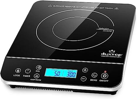 Duxtop Placa de Inducción Portátil, Cocina Electrica Portatil, Placa de Cocción de 2100W con Control Táctil, Pantalla Digital LCD, Temporizador de 10 ...