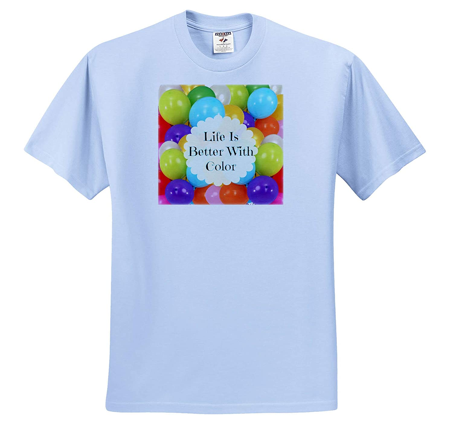 Image of Life is Better with Color Adult T-Shirt XL ts/_315327 3dRose Carrie Merchant Quote