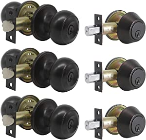 3 Pack Keyed Entry Door Knob Lockset and Single Cylinder Deadbolt Combination Set for Entrance and Front Door, Aged Oil Rubbed Bronze, Keyed Alike