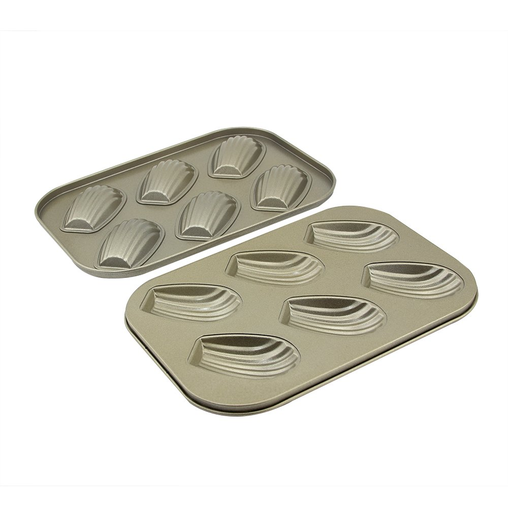 10.43 × 7.28 × 0.66 inch Madeleine Pan 6 Cups Shell Shaped Baking Pan kitchen Bakeware Set Madeleine Cookie Pan Baking Trays for Oven Non Stick 2 Pack (Shell Madeleine Pans) by Easy Style (Image #3)
