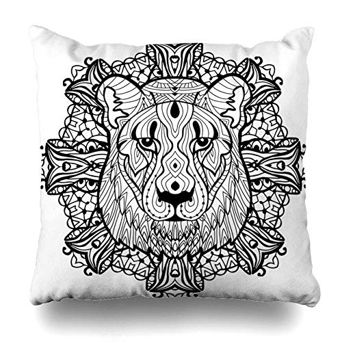 (Throw Pillow Cover Face Book Totem Coloring Page Adults Predatory Character Graphic Lioness Nature Pattern Abstract Home Decor Pillow Case Square Size 18 x 18 Inches Zippered)