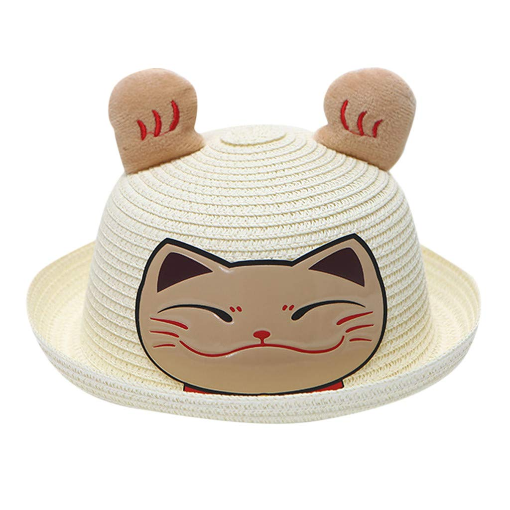 Wesracia Baby Girls Cute Hat Sun Protection,Breathable Soft Straw Hats Cartoon Kitty Hat with Ears 6~24 Months Old (White)