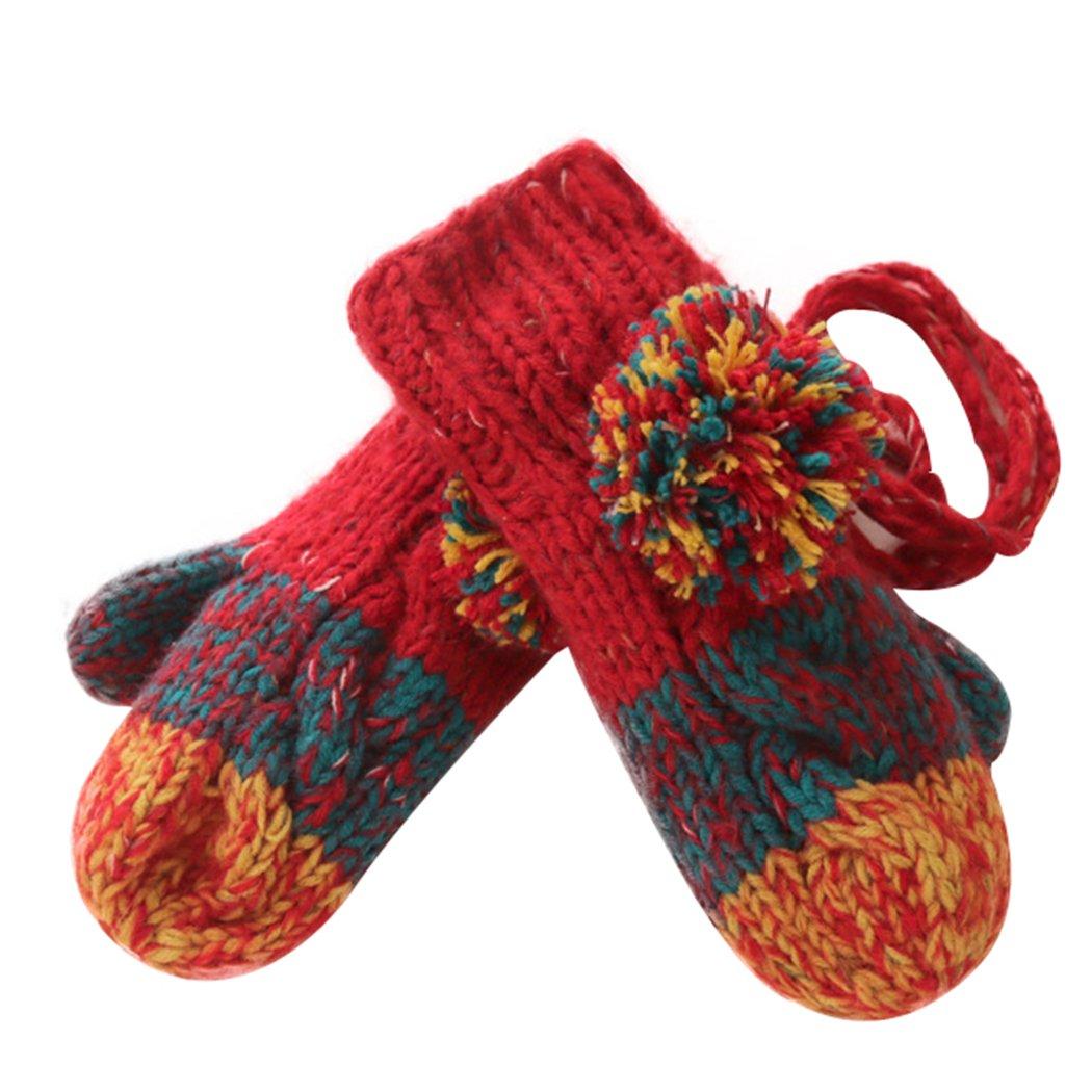 Womens Mitten, Fascigirl Winter Gloves Plush Warm Mitten Knitted Gloves with Neck Hanging