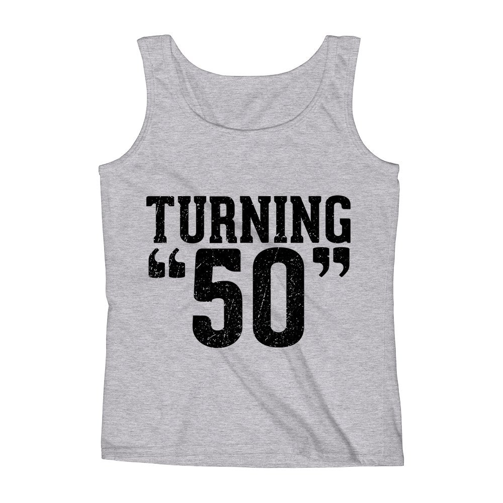 Mad Over Shirts Turning 50 Young Old Vintage Meme Unisex Premium Tank Top