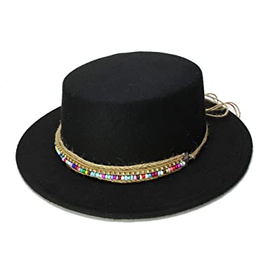 f55b6ec9fee Women s Wool Boater Flat Top Hat Felt Wide Brim Fedora Hat Gentleman Prok  Pie Chapeu Feltro