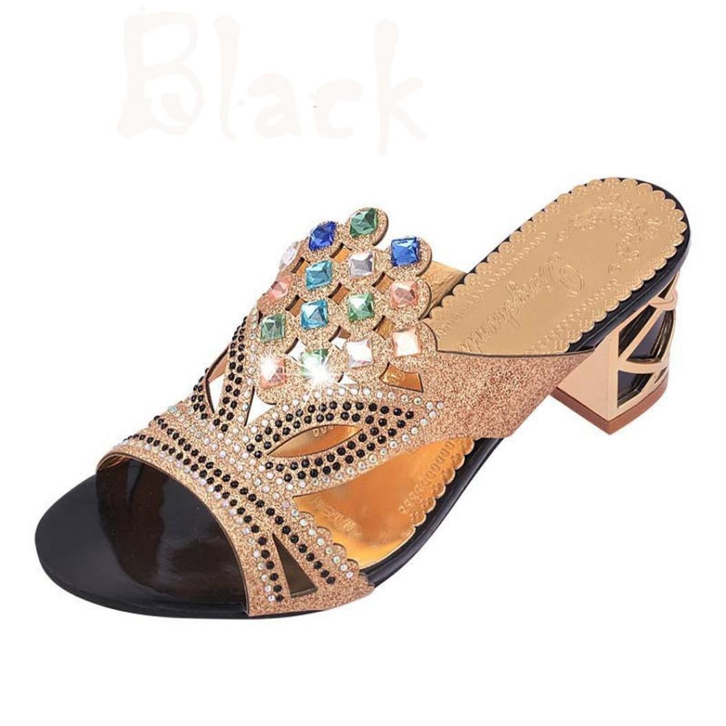 DEELIN Schuhe Damen Neue Sommermode Große Strass High Heel Sandaletten Party Freiliegende Zehe Schuhe  35 Schwarz