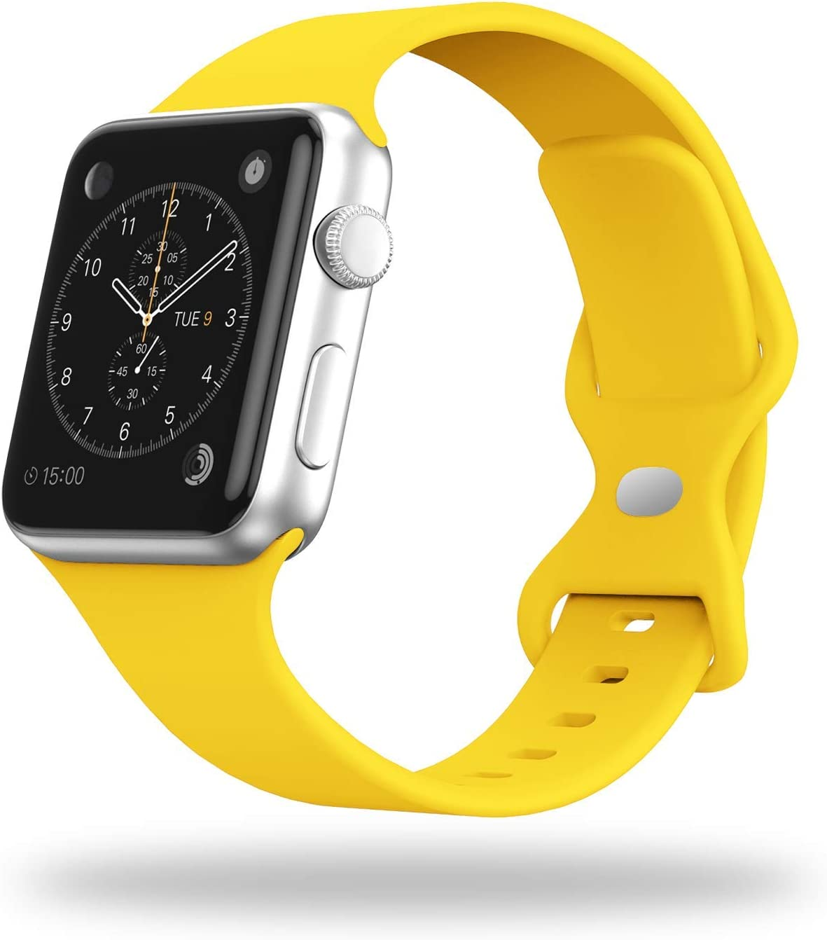 STG Smart Watch Band Compatible with Apple Watch Band 38mm 40mm 42mm 44mm, Soft Silicone Replacement Sport Strap Compatible for iWatch SE Series 6/5/4/3/2/1 (42/44mm, Yellow)