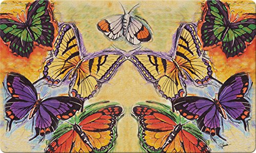 Toland Home Garden Flight of The Butterflies 18 x 30 Inch Decorative Floor Mat Colorful Flying Butterfly Doormat
