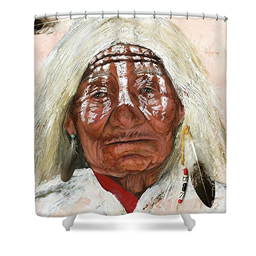 """Pixels Artistic Shower Curtain featuring """"Ghost Shaman"""" by J W Baker"""