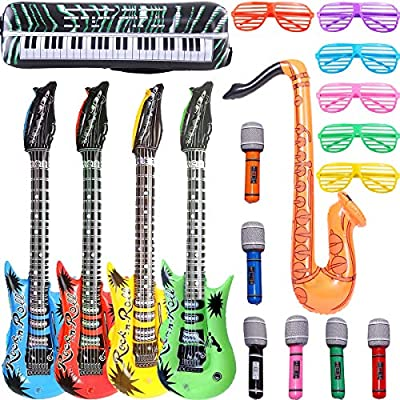 Child Inflatable Guitar Saxophone Microphone Musical Instrument Toy Stage Props