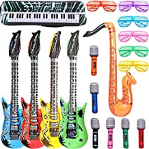 Inflatable Rock Star Toy Set - 18 Pack Inflatable Party Props - 4 Inflatable Guitar, 6 Microphones, 6 Shutter Shading Glasses, 1 Saxophone and 1 Inflatable Keyboard Piano Inflatable Rock toys