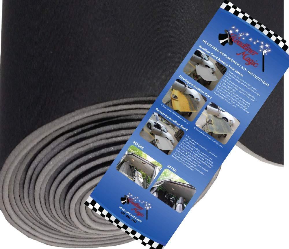 64 Wide Automotive Headliner W// 1//8 Foam Backing 7 Colors Black - 1559 Headliner Magic