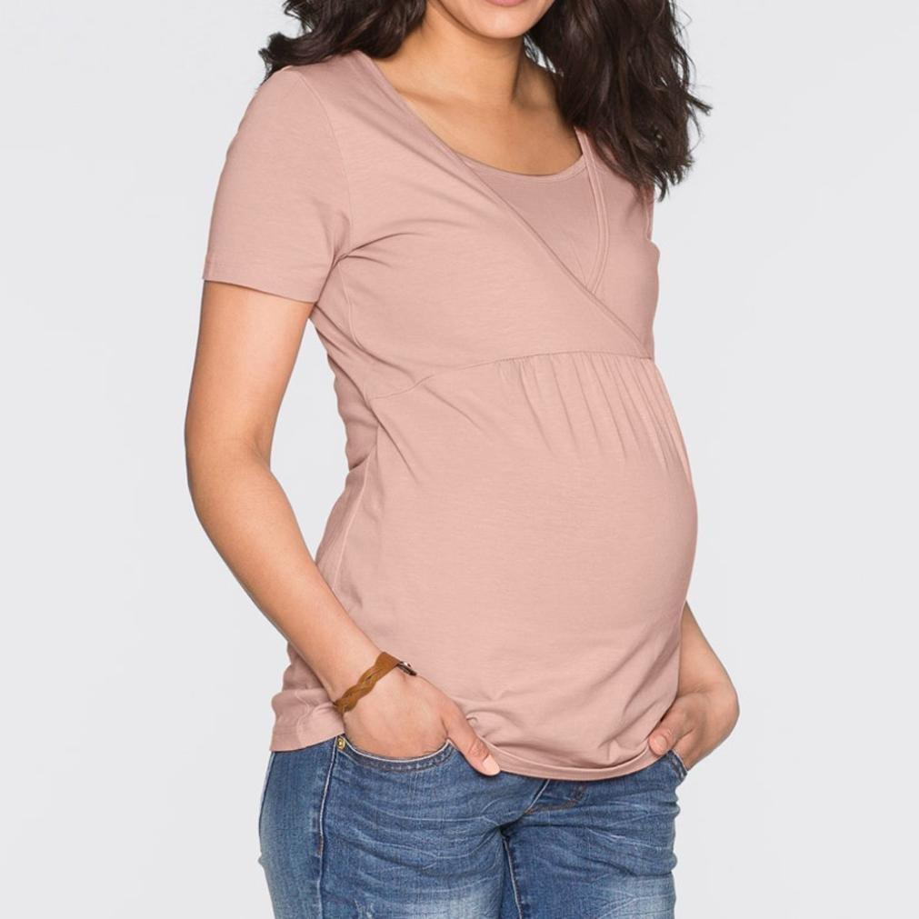Amphia Vestido de Mujeres Embarazadas, Camiseta de Blusa sólida de Doble Capa de Abrigo de enfermería para Mujeres: Amazon.es: Ropa y accesorios