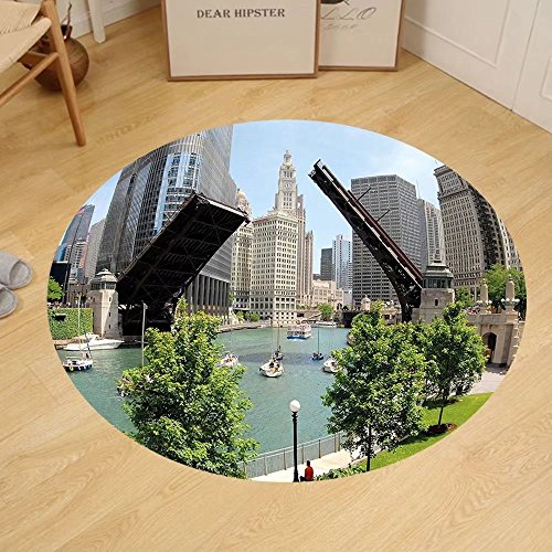 Gzhihine Custom round floor mat United States Downtown Chicago Illinois Finance Business Center Lake Michigan Avenue Bridge Bedroom Living Room Dorm - Great Michigan Lakes Outlet