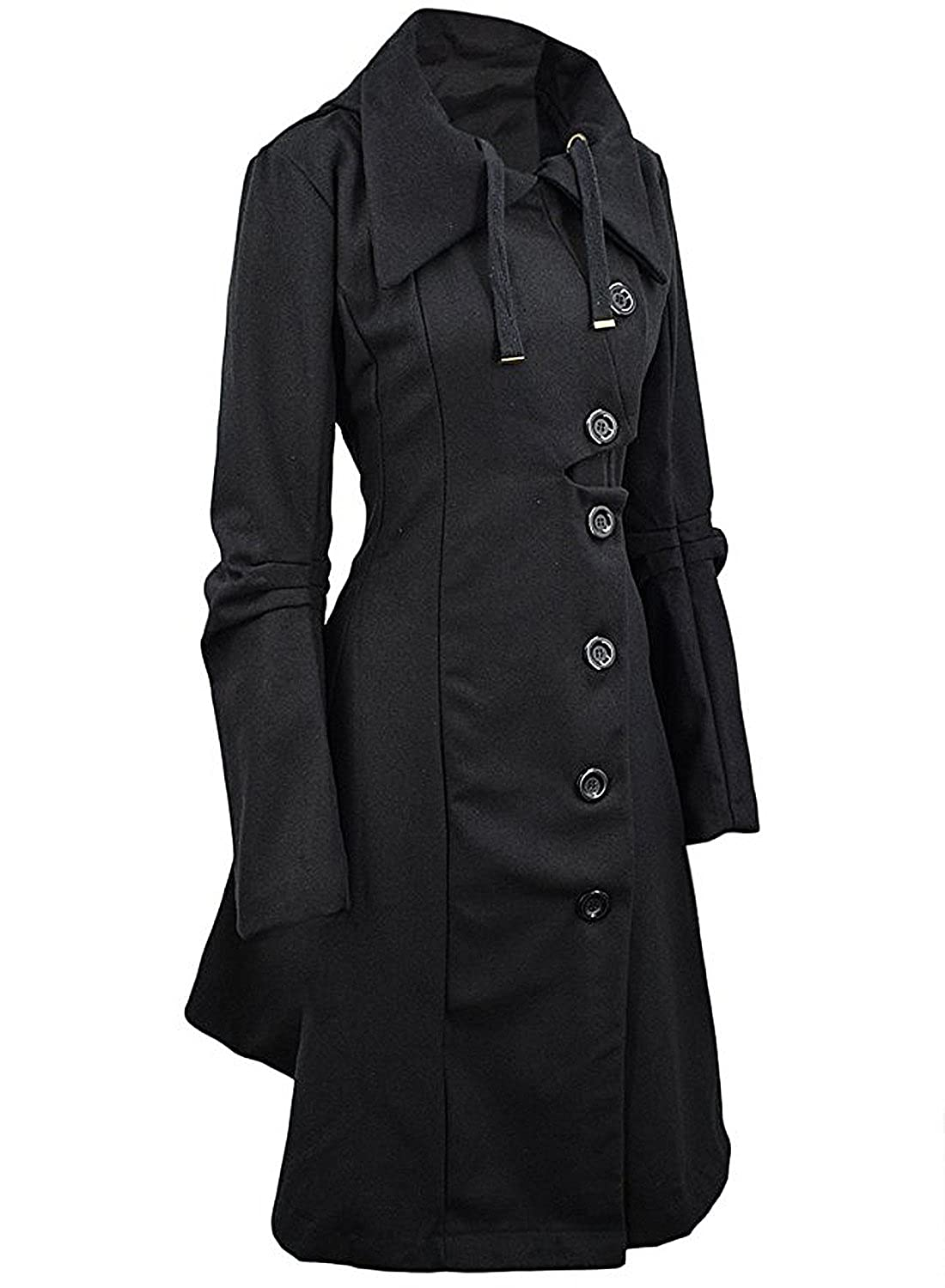 dfcc5474dff Amazon.com  Azbro Women Winter Outdoor Wool Blended Classic Pea Coat Jacket   Clothing