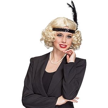 Blonde Charleston peiuca 20er rizador de pelo de la peluca años con plumas de la peluca