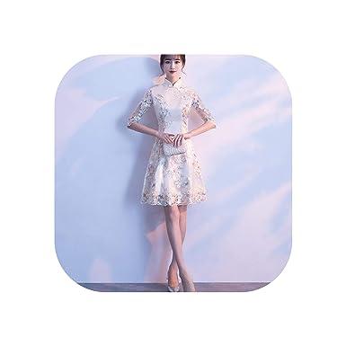 7bc88073e Amazon.com: Chinese Traditional Dress Silk Satin Cheongsam Short Sleeve  Long Dress Qipao Flower Print Split,color1,M: Clothing