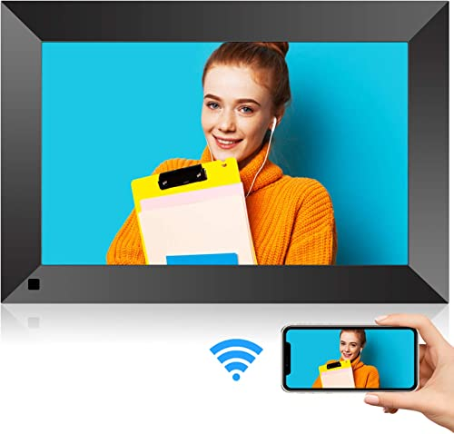 10 Inch WiFi Digital Picture Frame with HD Touch Screen, Motion Sensor, 16GB Storage, Digital Photo Frame with IPS HD Display, Auto-Rotate, Share Pictures via App, E-Mail, SD Card, No Monthly Fee