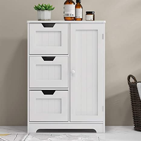 Amazon Com Bathroom Storage Cabinet Rasoo White Freestanding Organizer Cabinet For Bathroom Living Room One Door And 3 Drawers Kitchen Dining