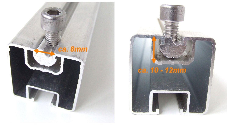 PV. 10 Stück Alu Nutenstein Photovoltaik Modulklemme M8 Gewinde Aluschiene