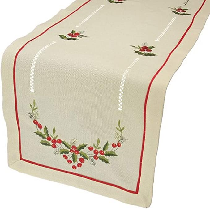 Amazon Com Xia Home Fashions Holly Berry Embroidered Hemstitch Christmas Table Runner 15 By 72 Inch Ecru Home Kitchen