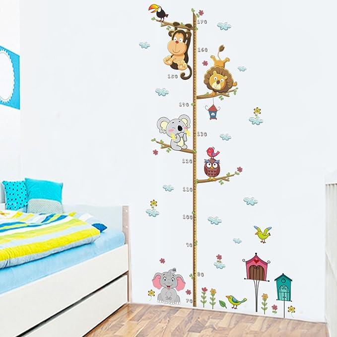 brandy/jackson/q Cartoon Height Stickers Kids Growth Chart Height Measure Decals Children Room Decoration Animals