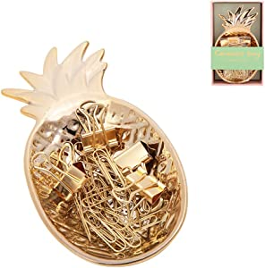 Gold Pineapple Tray Cute Binder Clips Paper Clips Tray Holder Jewelry Tray for Desk Accessories Home Decor