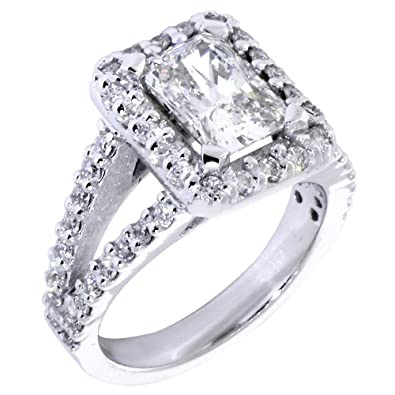 de1ae2f4e2207 Halo Engagement Ring Setting for a Radiant or Emerald Cut Diamond ...