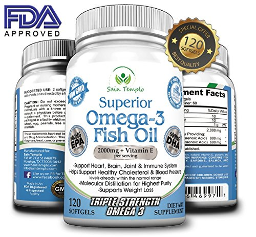 Omega 3 Fish Oil, 2000mg Supplement/w 600 DHA +800 EPA +Vitamin E, Best Essential Fatty Acids-120 Liquid/softgel Pills- Pure Triple Strength Pharmaceutical Grade, Sources From Deep Cold Alaska Water.