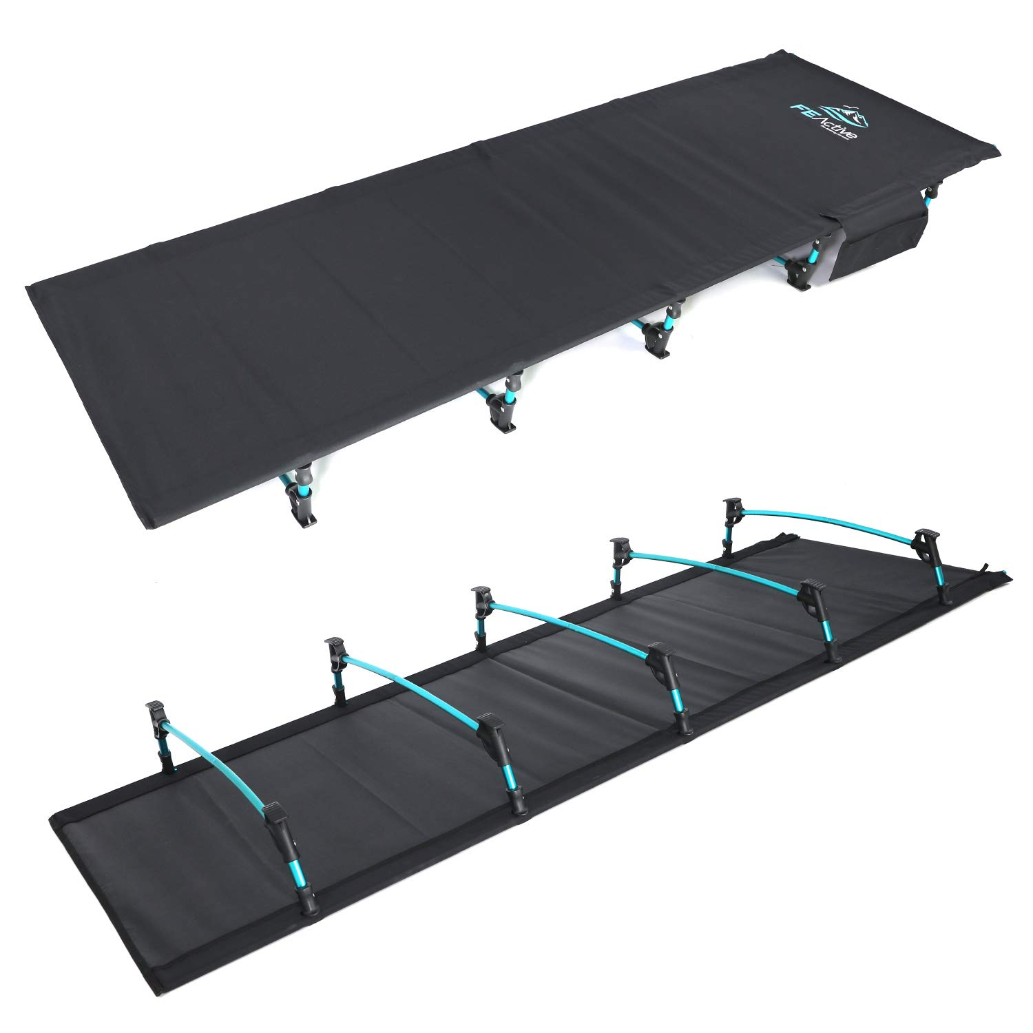 FE Active - Compact Folding Cot Built with Full Aluminum Designed as Ultralight Portable Camping Bed for Camping, Hiking, Trekking, Backpacking| Designed in California, USA by FE Active