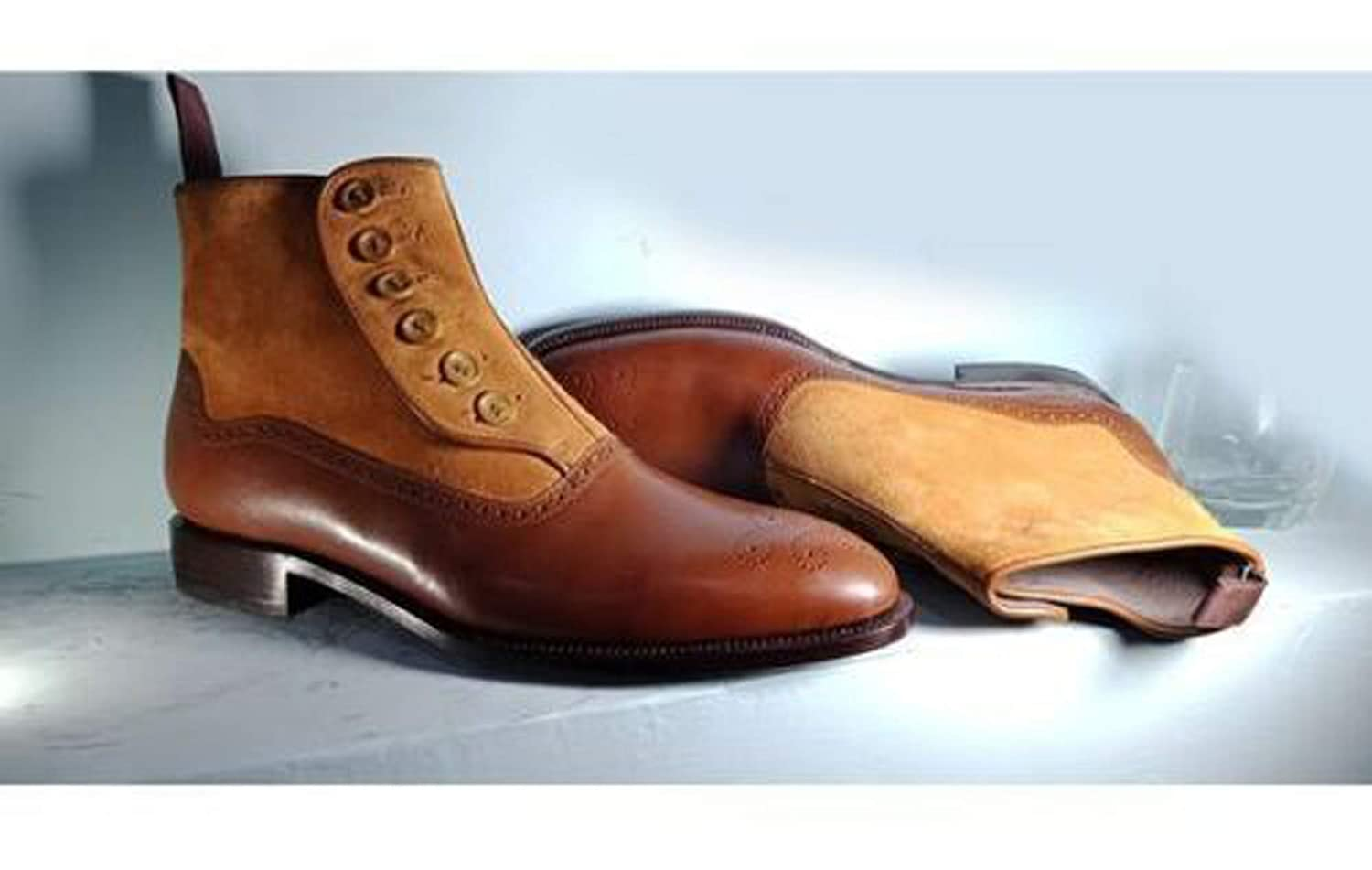 MENS HANDMADE BROWN BOOTS BUTTON ANKLE LEATHER SHOES FOR MEN
