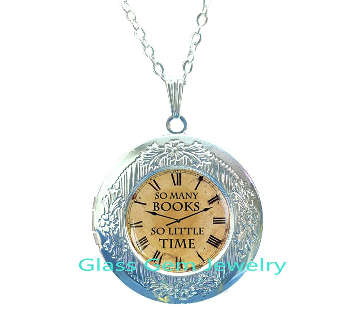 Book quote Locket Necklace Quote Locket Pendant So Many Books So Little Time Locket Pendant Book jewelry Zappa Quote Locket Necklace,Q0115 So Many Books Locket Necklace