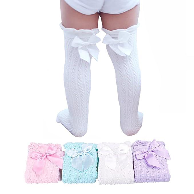9a211a3f4 YallFairy 4 Pairs Baby Girls Knee High Socks Kids Lace Bows Princess Tube  socks (M