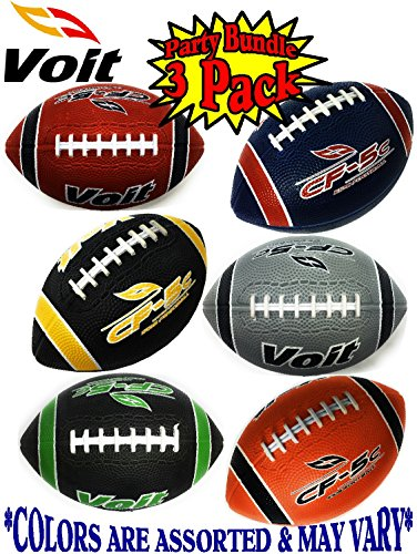 Voit 6 Mini Rubber Inflatable Footballs (Indoor/Outdoor) Gift Set Party Bundle - 3 Pack (Asssorted Colors) Balls Ship Deflated