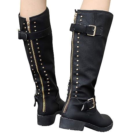 ❤ Botas Altas Cowboy Boots para Mujer, Zapatos de Mujer Rivet Riding Riding Knee High Botas largas otoño Invierno Absolute: Amazon.es: Ropa y accesorios